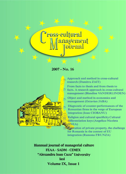 Volume IX, Cross-Cultural Management Journal