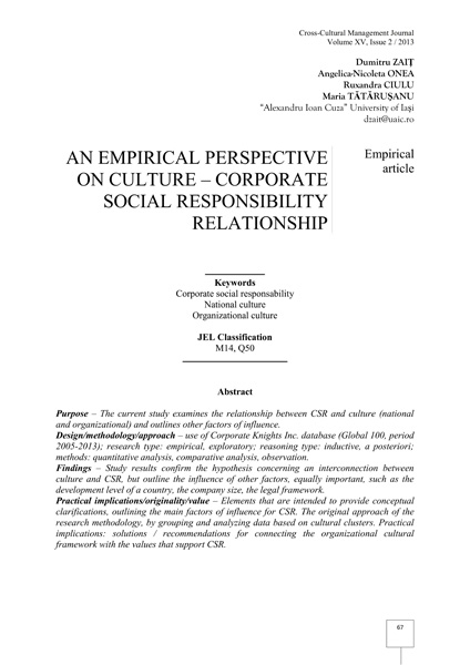 Volume XV, Cross-Cultural Management Journal