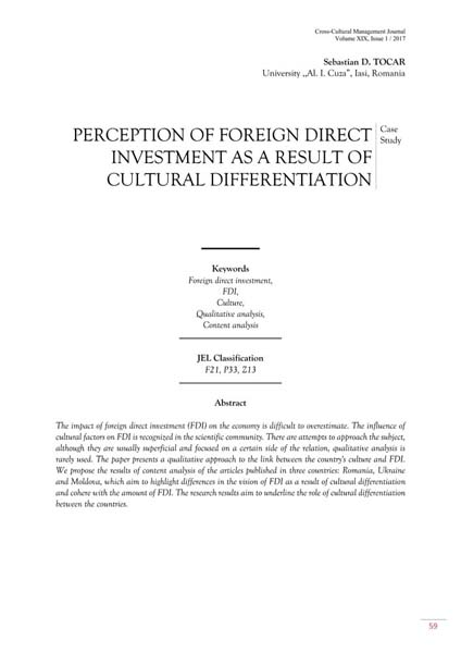 Volume XIX, Cross-Cultural Management Journal